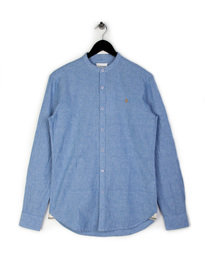 Farah Cliffords Slim Grandad Shirt Blue