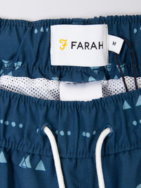 Farah Colbert Dispersed Geo Swin Shorts Blue