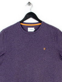 FARAH DENNY MARL CREW NECK T-SHIRT PURPLE