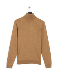 Farah Gosforth Merino Roll Neck Brown