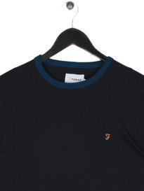 Farah Groves Ringer Short Sleeve T-Shirt Navy