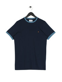 Farah Groves Ringer T-Shirt Navy