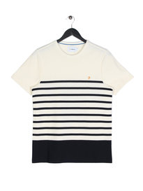 Farah Hampstead Honeycomb Stripe Short Sleeve T-Shirt Navy