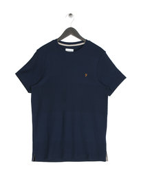 Farah Hannett Stripe Crew Neck T-Shirt Navy
