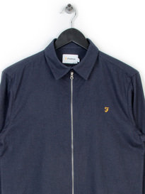 FARAH KINCH LONG SLEEVE REG SOL SHIRT NAVY