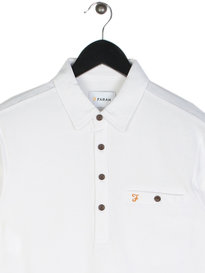 Farah Lester Long Sleeve Polo White
