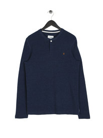 Farah Marple Henley Long Sleeve Top Navy