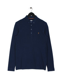 Farah Merriweather Long Sleeve Polo Navy