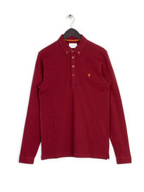 Farah Merriweather Long Sleeve Polo Red