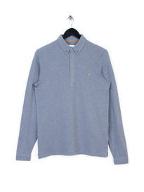 FARAH MERRIWEATHER LONG SLEEVE POLO BLUE