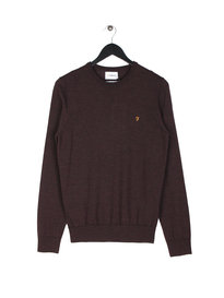 Farah Mullen Wool Crew Knit Bordeaux