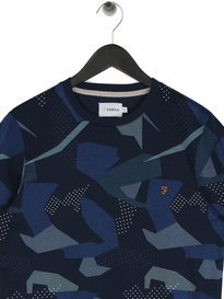 Farah Northenden Print Crew T-Shirt Navy