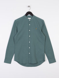 Farah Owens Long Sleeve Grandad Collar Shirt Green