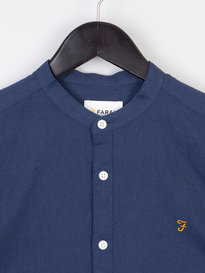 Farah Owens Long Sleeve Grandad Collar Shirt Navy