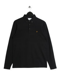Farah Stapleton Long Sleeved Polo Shirt Black