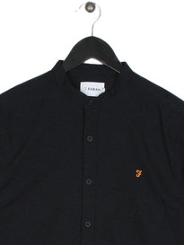 Farah Steen Slim Long Sleeve Grandad Shirt Sky Navy