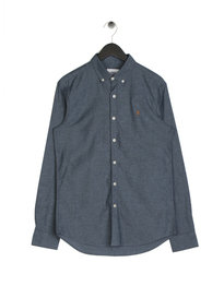 Farah Steen Slim Long Sleeve Shirt Blue