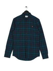 Farah Waithe Slim Long Sleeve BD PAT Shirt Navy