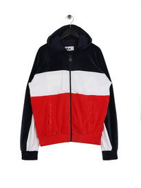 Fila Blackline Oscar Velour Hooded Jacket Navy