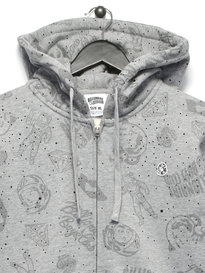 Billionaire Boy Club Galaxy AOP Zip Through Hoody Grey