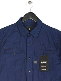G Star Raw 3301 Micro Poplin Long Sleeve Shirt Blue