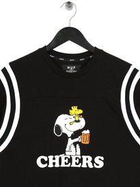 Huf x Peanuts Cheers Football T-Shirt Black
