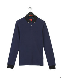 Luke Esox Collar Stripe Long Sleeve Polo Midnight