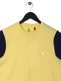 Luke Skinny Contrast Sleeve Crew Neck T-Shirt Yellow
