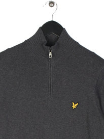 Lyle & Scott 1/4 Zip Cotton Merino Jumper Grey
