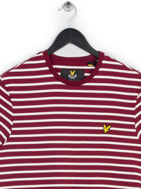 LYLE & SCOTT BRETON STRIPE T-SHIRT CLARET RED