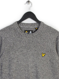 Lyle & Scott Crew Neck 3 Colour Mouline Knit Grey