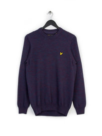 Lyle & Scott Crew Neck 3 Colour Mouline Knit Navy