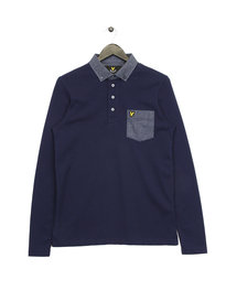 Lyle & Scott Long Sleeve Woven Collar Polo Navy