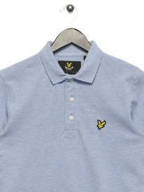 Lyle & Scott Long Sleeve Plain Polo Shirt Blue Marle
