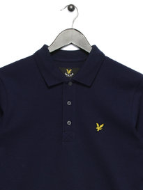 Lyle & Scott Long Sleeve Plain Polo Shirt Navy