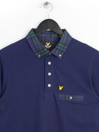 Lyle & Scott Long Sleeve Check Woven Collar Polo Shirt Navy
