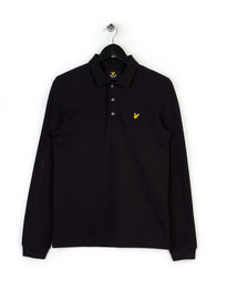 LYLE & SCOTT LONG SLEEVE POLO SHIRT BLACK