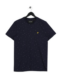 Lyle & Scott Micro Print Crew Neck T-shirt Navy