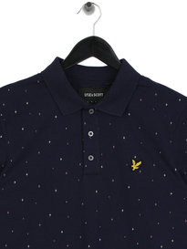 Lyle & Scott Micro Print Polo Shirt Navy