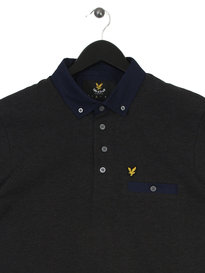 Lyle & Scott Spin Dot Collar Polo Grey
