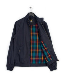 LYLE & SCOTT TARTAN LINED HARRINGTON JACKET NAVY