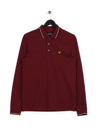 Lyle & Scott Long Sleeve Tipped Polo Shirt Red
