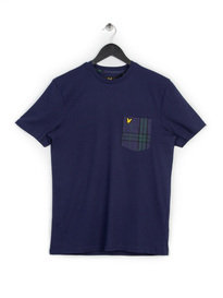 LYLE & SCOTT WOVEN CHECK POCKET T-SHIRT NAVY