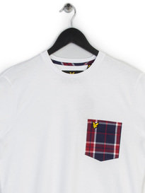 LYLE & SCOTT WOVEN CHECK POCKET T-SHIRT WHITE