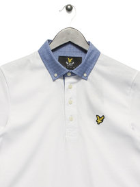 Lyle & Scott Woven Collar Polo White