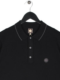Pretty Green Tilson Long Sleeve Knitted Polo Black