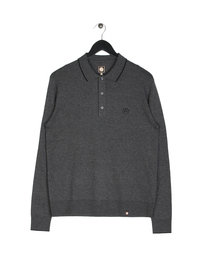 Pretty Green Tilson Long Sleeve Knitted Polo Grey