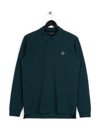 MA.Strum Long Sleeved Pique Icon Polo Petrol Blue