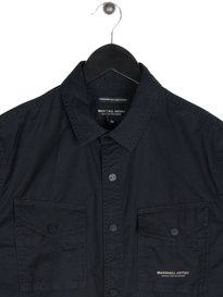 Marshall Artist Dual Pocket Military Long Sleeve Shirt Navy