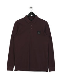 Marshall Artist Logo Long Sleeve Polo Burgundy